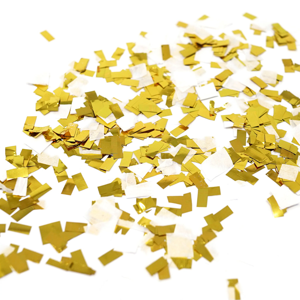 Premium Shredded Squares Tissue Paper Party Table Confetti - 50 Grams (White, Gold Mylar Flakes)