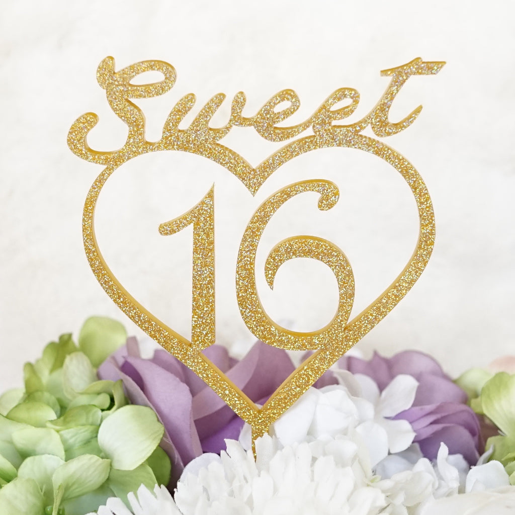 Sweet 16 With Heart Silhouette Birthday Cake Topper Pick G Party N Beyond