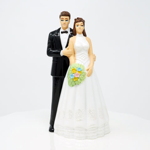 Bride and Groom Cake Topper - Light Complexion w/Brown Hair