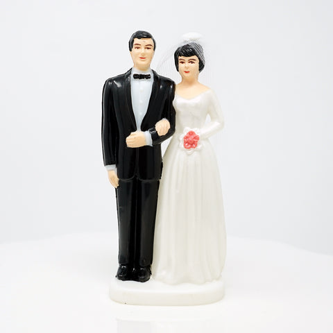 Bride and Groom Cake Topper - Light Complexion w/ Dark Hair