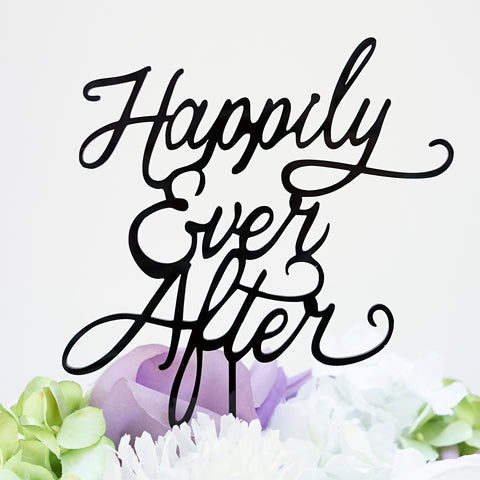 """Happily Ever After"" Silhouette Wedding Anniversary Cake Topper Pick - Black Gloss Finish"