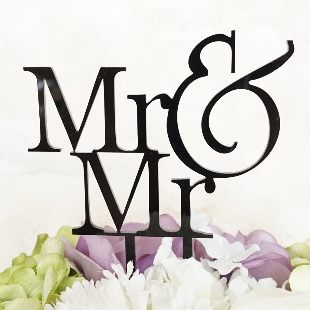 """Mr & Mr"" Groom & Groom Silhouette Wedding Cake Topper Pick - High Gloss Black Finish"