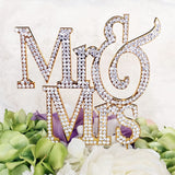 Mr & Mrs Monogram Silhouette Rhinestone Cake Topper - Formal Font