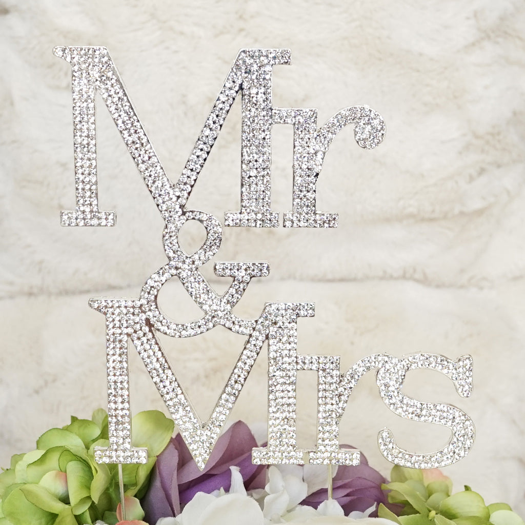 """Mr & Mrs"" Three-row Silver Large Monogram Silhouette Rhinestone Wedding Cake Topper Decoration with Crystals - Formal Font"