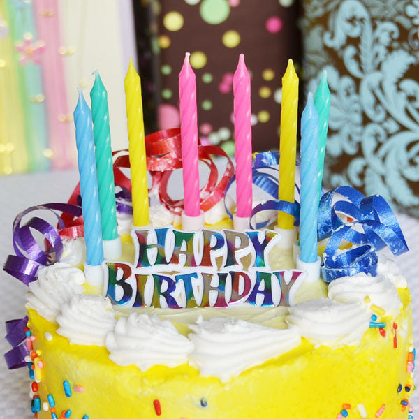 "12 Candles Assorted w/""Happy Birthday"" Rainbow Sign"