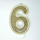 Number Candle for Birthday Party Cakes & More-Champagne Gold