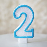 Number Candle for Birthday Party Cakes & More - Glitter Blue