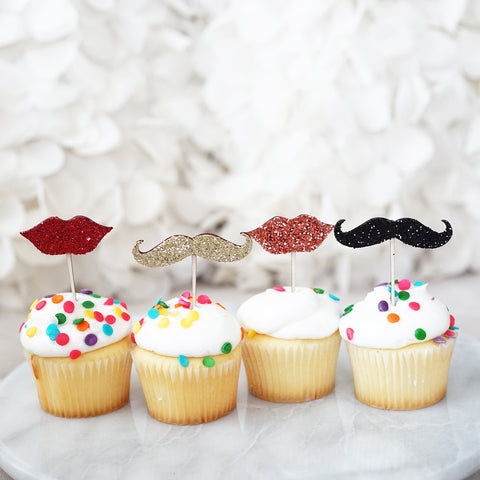 Glitter Picks Mustache and Lips for Cupcake & Cake