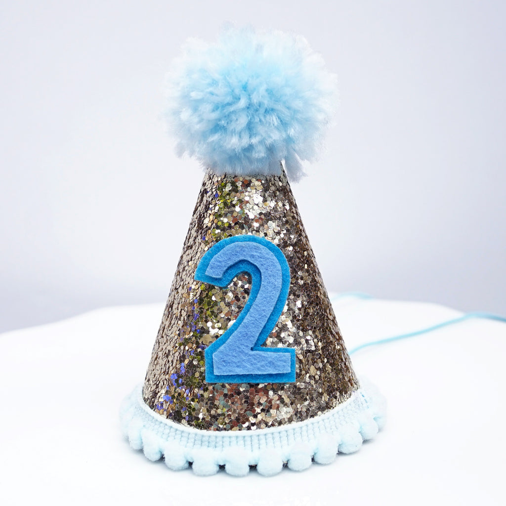 Mini Pale Gold Glitter Cake Smash Birthday Party Cone Hat w/ Pom Pom Top #2 - Baby to Toddler Size