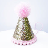 Mini Pale Gold Glitter Cake Smash Birthday Party Cone Hat w/ Pom Pom Top - Baby to Toddler Size (No number)