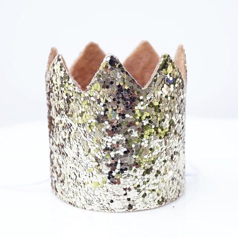 Mini Pale Gold Glitter Cake Smash Birthday Party Crown Hat - Baby to Toddler Size (Gold Glitter w/ no number)