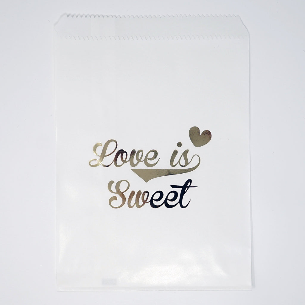 "Candy, Favor & Treat Bags For All Parties 48ct ""Love Is Sweet"" Gold & White"