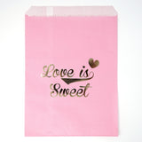 "Candy, Favor & Treat Bags For All Parties 48ct ""Love Is Sweet"" Gold & Pink"