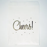 "Candy, Favor & Treat Bags For All Parties 48ct ""Cheers"" Gold & White"