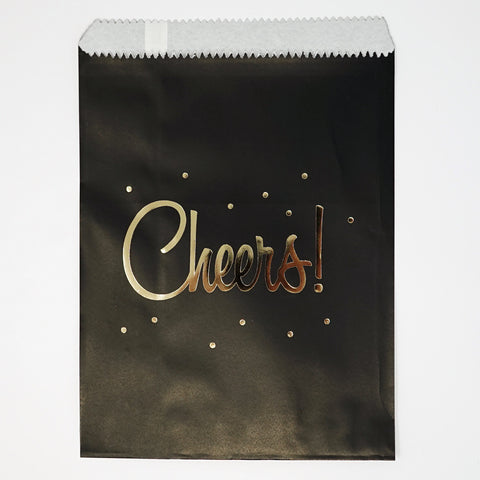 "Candy, Favor & Treat Bags For All Parties 48ct ""Cheers"" Gold & Black"