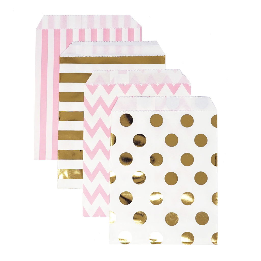 Candy, Favor & Treat Bags For All Parties 48ct Pink, Gold, White