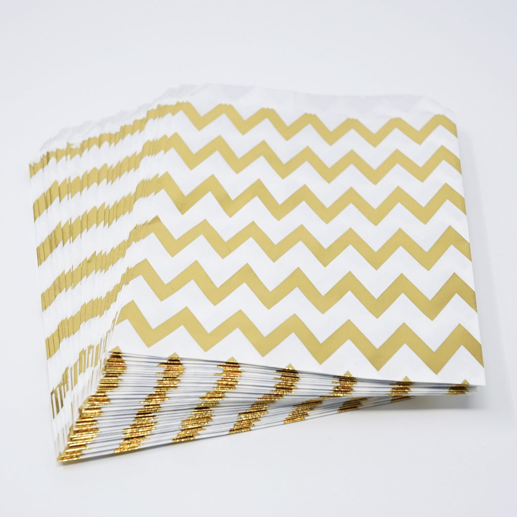 Candy, Favor & Treat Bags For All Parties 48ct Gold Chevron