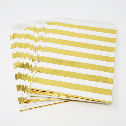 Candy, Favor & Treat Bags For All Parties 48ct Gold Stripes