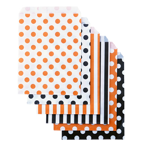 Candy, Favor & Treat Bags For All Parties 48ct Orange, Black, White