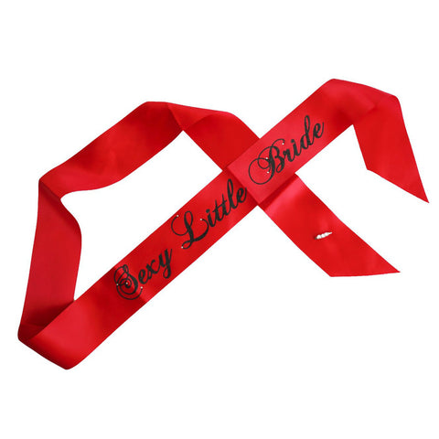 """Sexy Little Bride"" Bachelorette Party Sash - Red with Black Glitter Cursive Font"