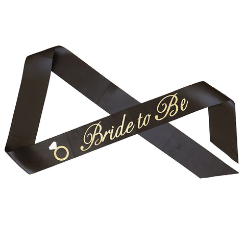 """Bride to Be"" with Diamond Ring Bachelorette Sash - Black with Gold Glitter Cursive Font"