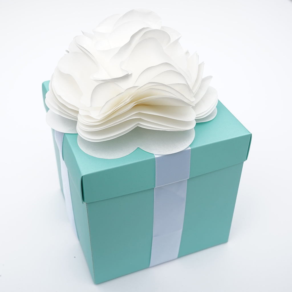 Robins Egg Aqua Blue Wedding Centerpiece Favor Box with Lid & Self Adhesive Satin Ribbons & Ivory Tissue Paper Flower Bow