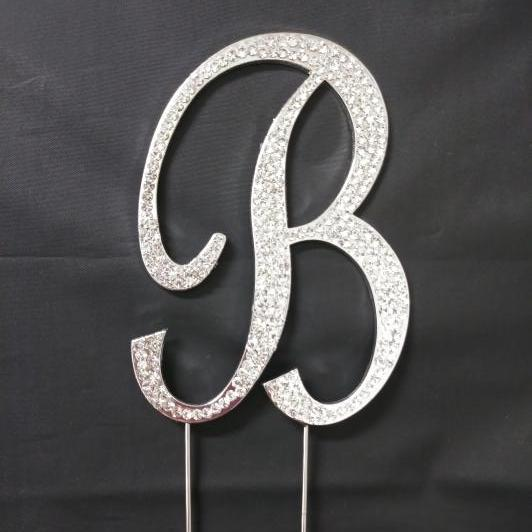 Crystal Rhinestone Covered Silver Monogram Wedding Cake Topper Letter B