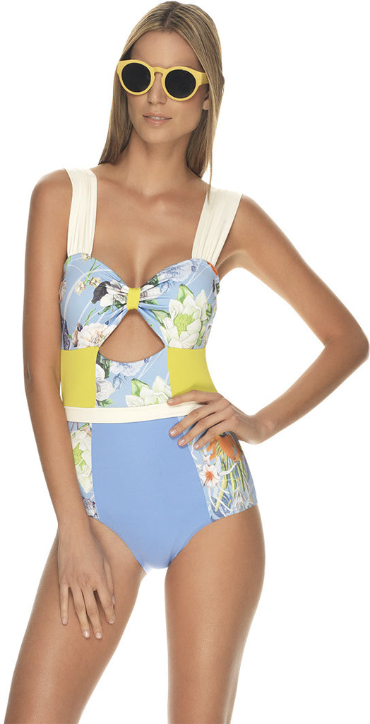 Tahiti Floral Cut Out One Piece - Cabana Chic Swimwear