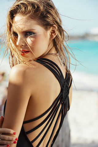 Black Sandcastle Strappy One Piece - Cabana Chic Swimwear