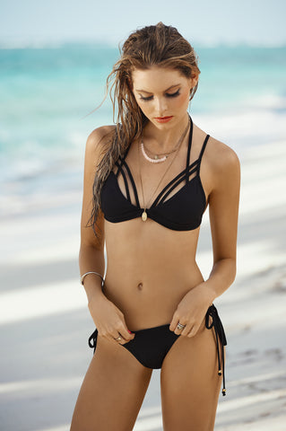Black Strappy Cage Bikini - Cabana Chic Swimwear