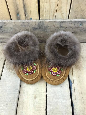 Moose Hide Beaver Cuff Red/Pink/Yellow Flower Slipper