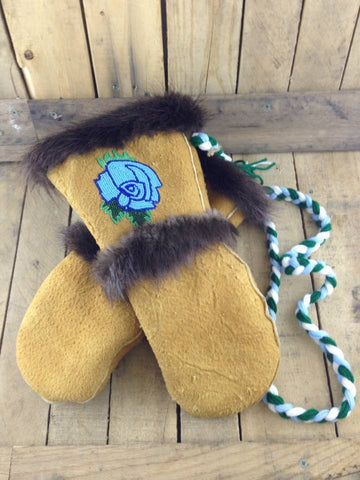 Blue Rose Beadwork on Moose Hide Mitts with Beaver Fur Trim and Attachment String