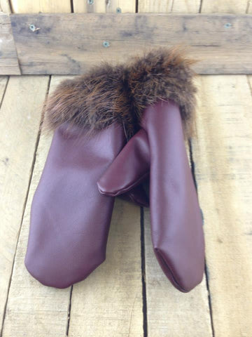 Burgundy Leather Mittens with Beaver Fur Trim