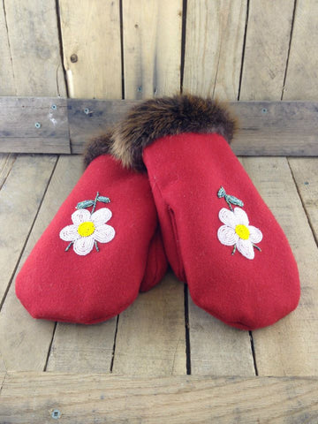 White Flowers Embroidered on Red Stroud Mittens with Beaver Fur