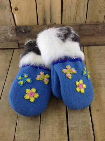 Blue Duffel Mittens with Black and White Rabbit Fur