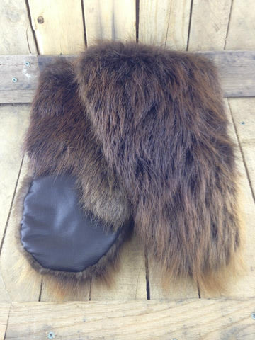Black Leather Mitts with Beaver Fur