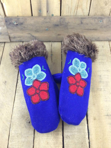 Beaded Blue Stroud Lined Mittens with Faux Fur Trim