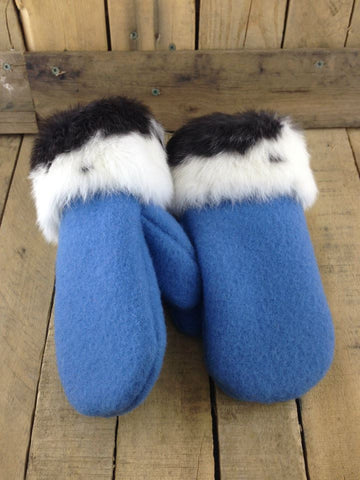Blue Duffel Mittens with Black/White Rabbit Fur