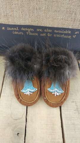 Infant Beaded Moose Hide Moccasins with Beaver Fur