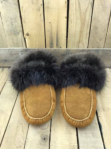 Slippers Moose Hide Lined and Beaver Fur