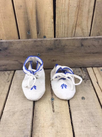 White Moccasins Slipper with Blue Beading Wraparound