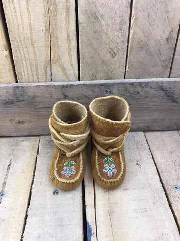 Moose Hide Wraparounds with Beading Clear Flower Teal Petals and Center