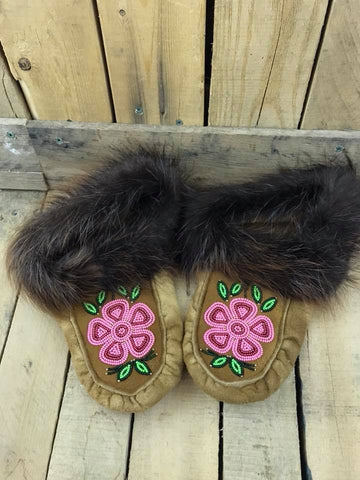 Moose Hide Beaver Cuff Slipper with Beading