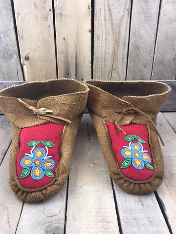 Moose Hide Red Stroud High Cuff Slippers with Blue/Orange/Yellow/Green Beaded Flower