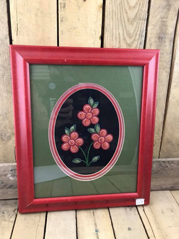 Red Flowers with Green Leaves Moose Hair Tufting Design with Black Background and Layered Red and Green Matting in Red Frame.