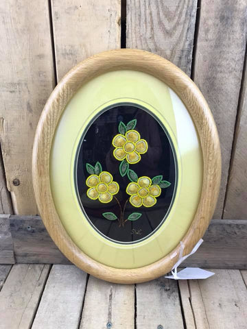 "Yellow Flower Design Oval Moose/Caribou Tufting 10"" x 13"""