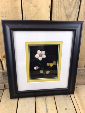 "White and Pink Flower and Bird Moose Hair Tufting in Matting and Black Frame 10"" x 11"""