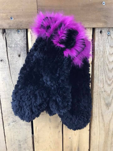 Dene Fur Black Rabbit and Beaver Gloves