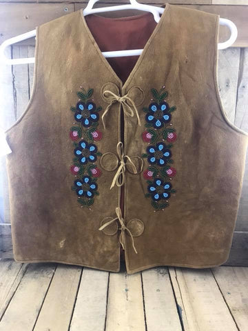 Moose Hide Vest with Beaded Blue/Red/Pink Flowers