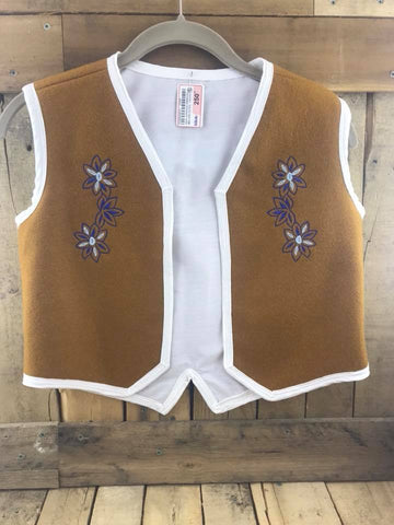 "Brown Stroud Vest with Blue and White Beaded Flowers and Melton Cloth Inner Lining. 16"" chest / 17"" Length"